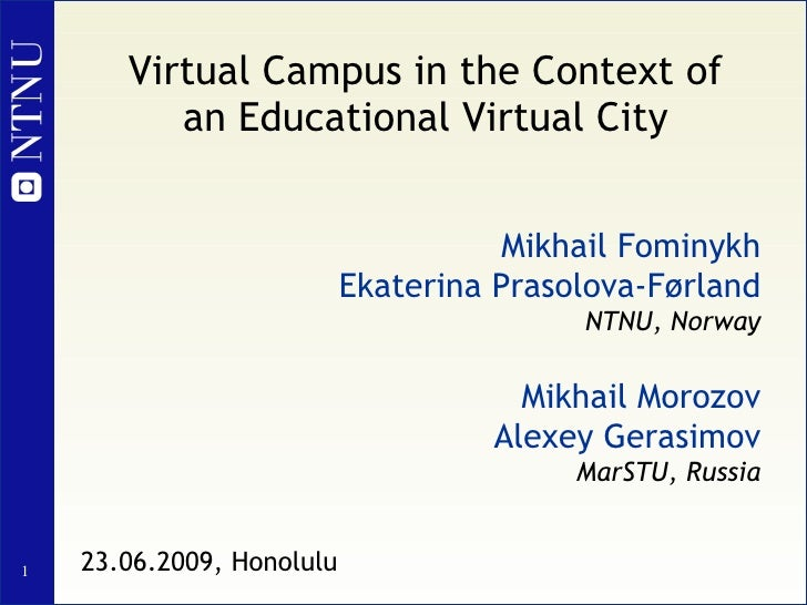Virtual Campus in the Context of an Educational Virtual City