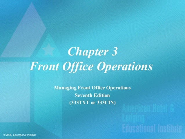 Chapter 3                       Front Office Operations                                Managing Front Office Operations   ...