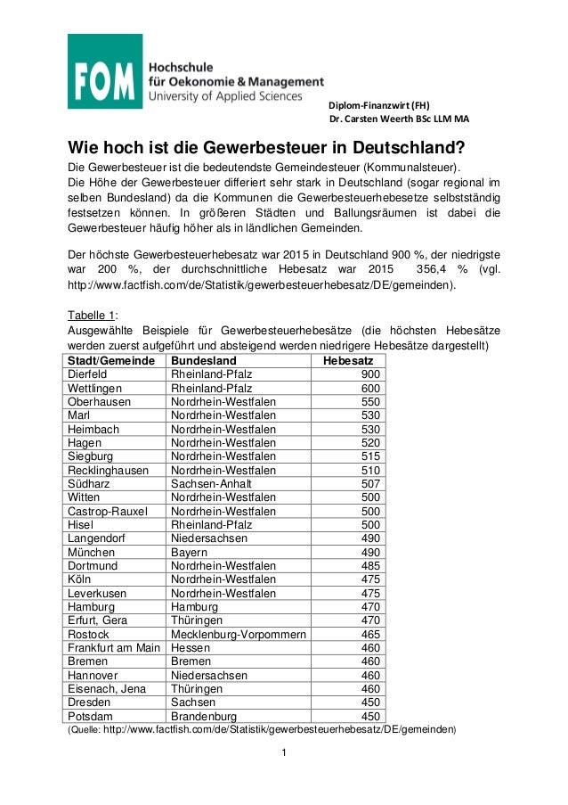Diplom-Finanzwirt (FH) Dr. Carsten Weerth BSc LLM MA 1 Wie hoch ist die Gewerbesteuer in Deutschland? Die Gewerbesteuer is...