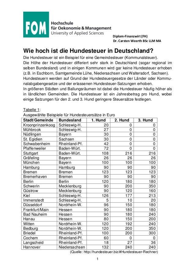 Diplom-Finanzwirt (FH) Dr. Carsten Weerth BSc LLM MA 1 Wie hoch ist die Hundesteuer in Deutschland? Die Hundesteuer ist ei...