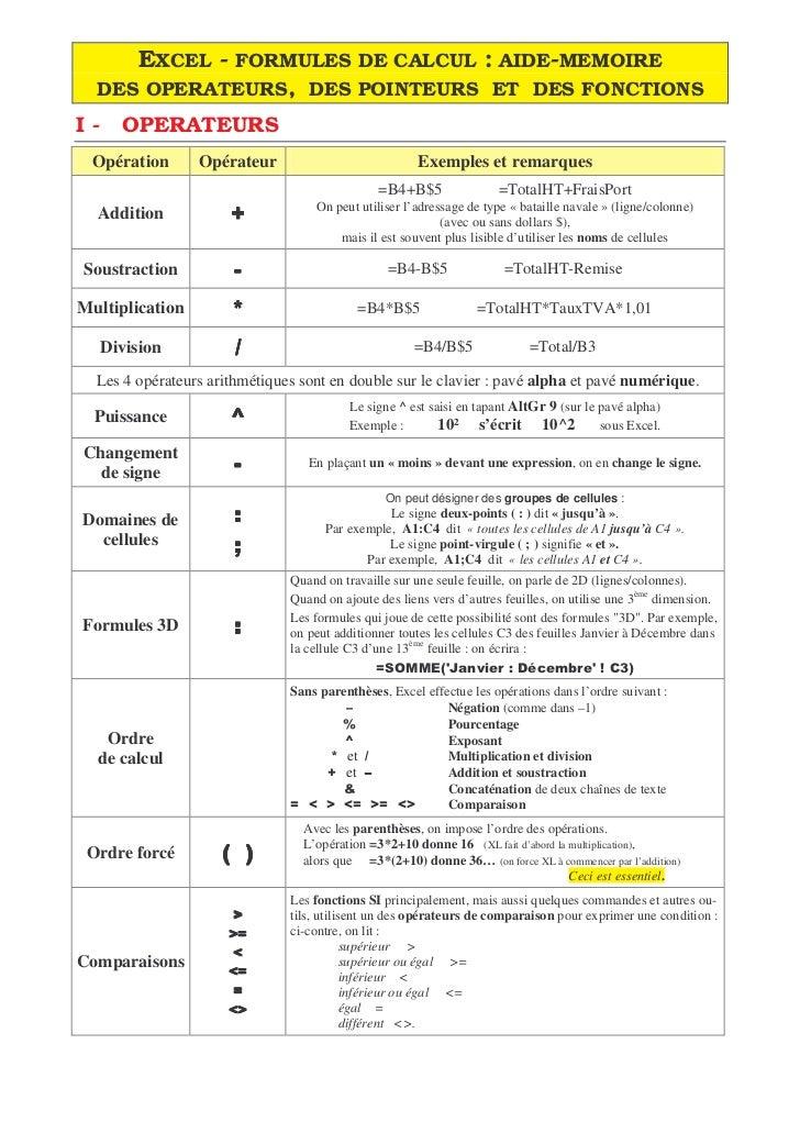 EXCEL - FORMULES DE CALCUL : AIDE-MEMOIRE  DES OPERATEURS, DES POINTEURS ET DES FONCTIONSI-     OPERATEURS Opération      ...
