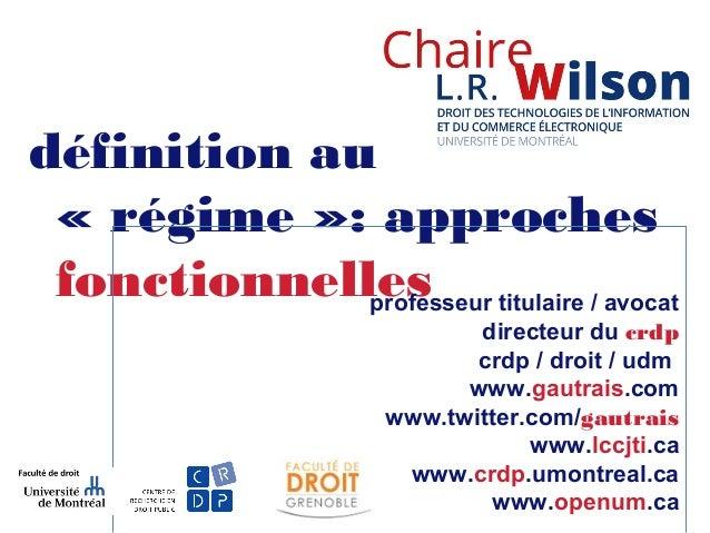 définition au «régime»: approches fonctionnellesprofesseur titulaire / avocat directeur du crdp crdp / droit / udm www.g...