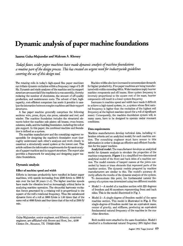 Dynamic analysis ofpa.. machine foundations Sauren Guha-Majumdarand Makram A Khoury          fats w h p a p e r m b i n e ...