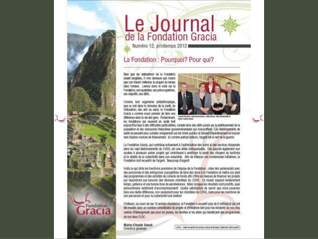 Journal de la Fondation Gracia - Numéro 12