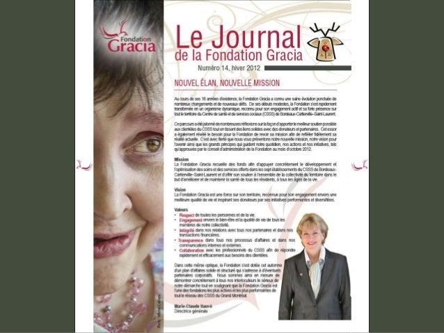 Journal de la Fondation Gracia - Numéro 14
