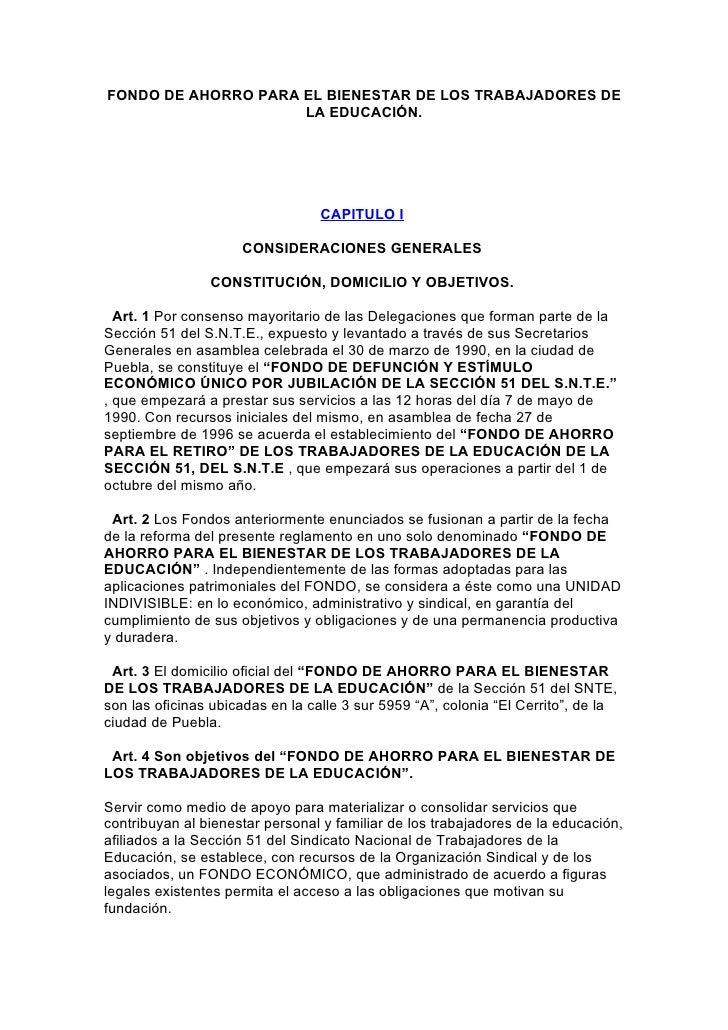 FONDO DE AHORRO PARA EL BIENESTAR DE LOS TRABAJADORES DE                     LA EDUCACIÓN.                                ...