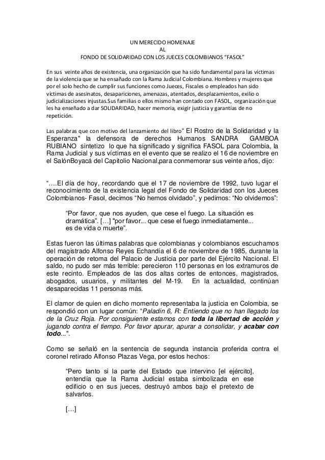 UN MERECIDO HOMENAJE                                       AL             FONDO DE SOLIDARIDAD CON LOS JUECES COLOMBIANOS ...
