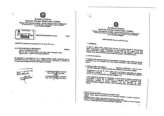 Fon sai unipol intercettazioni gdf ottobre novembre 2012
