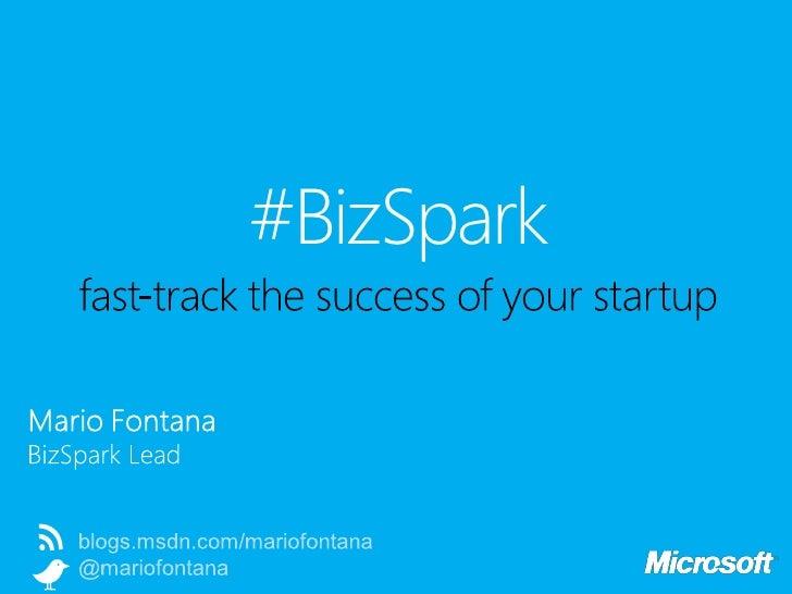 Startup in action: Microsoft BizSpark, by Mario Fontana
