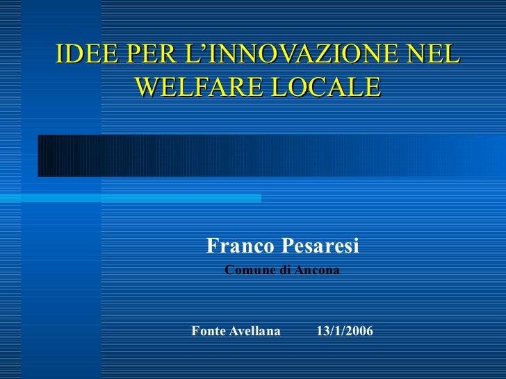 Innovazioni nel welfare locale