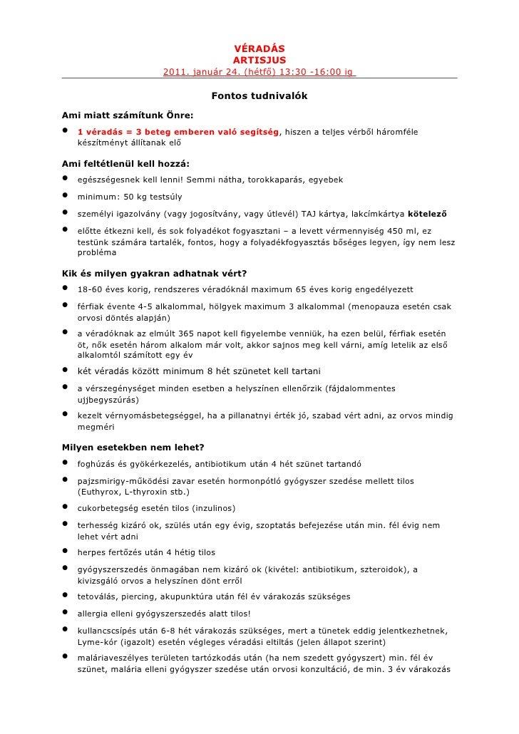 Fontos tudnivalók artisjus 2011 véradás