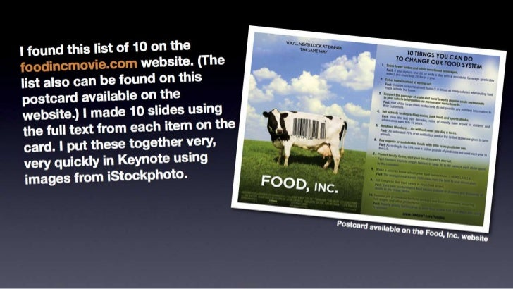 Sample slides based on Food, Inc.