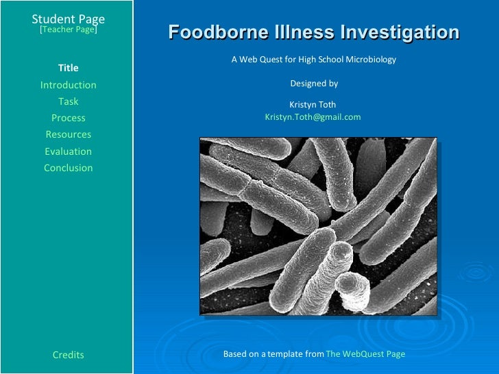 Foodborne Illness Investigation Student Page Title Introduction Task Process Evaluation Conclusion Credits [ Teacher Page ...
