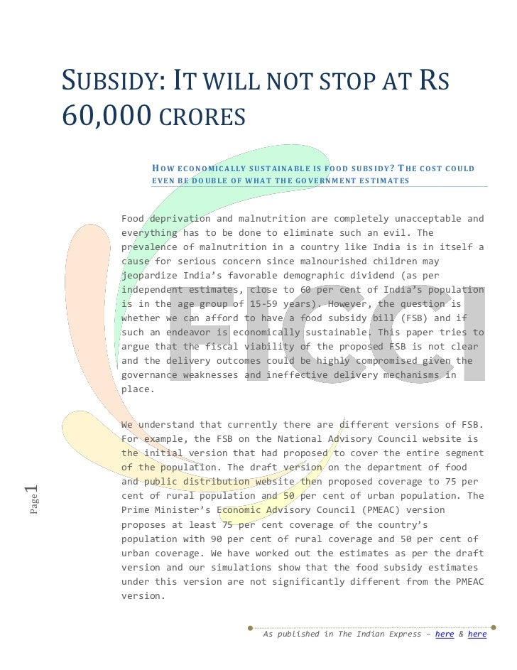 SUBSIDY: IT WILL NOT STOP AT RS       60,000 CRORES                HOW    E CO N O M I C AL L Y S US T AI N A BL E I S F O...