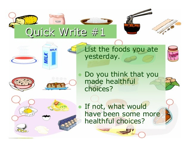 Quick Write #1            List the foods you ate             yesterday.            Do you think that you             mad...