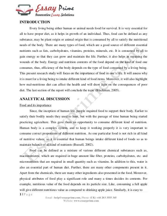 essay on importance of healthy eating The secret is not what people eat, but how they eat most often what they need is not a diet, but a revision of their eating habits this includes split meals in smaller portions, a more balanced combination of fats, proteins, and carbohydrates, and reducing, not giving up, food which is favored but not exactly healthy.