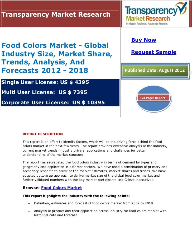 Transparency Market Research                                                                            Buy NowFood Colors...