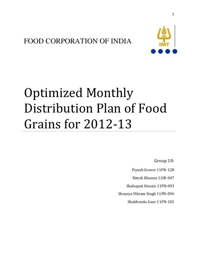 1FOOD CORPORATION OF INDIAOptimized MonthlyDistribution Plan of FoodGrains for 2012-13                                    ...