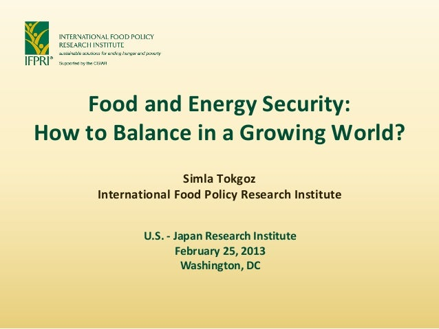 Food and Energy Security:How to Balance in a Growing World?                    Simla Tokgoz     International Food Policy ...