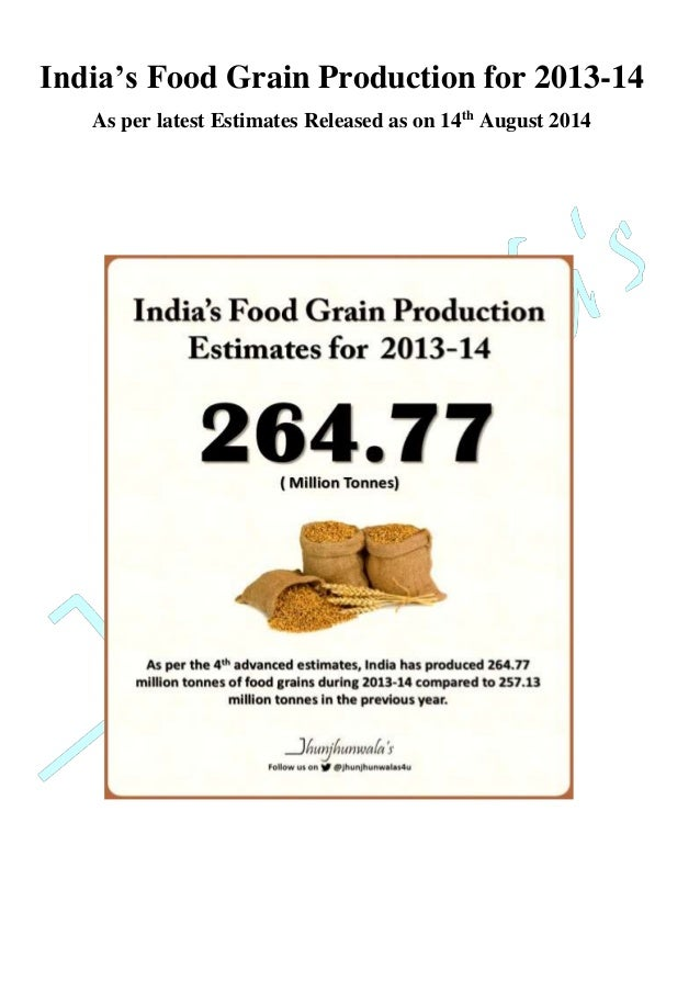 India's Food Grain Production for 2013-14  As per latest Estimates Released as on 14th August 2014