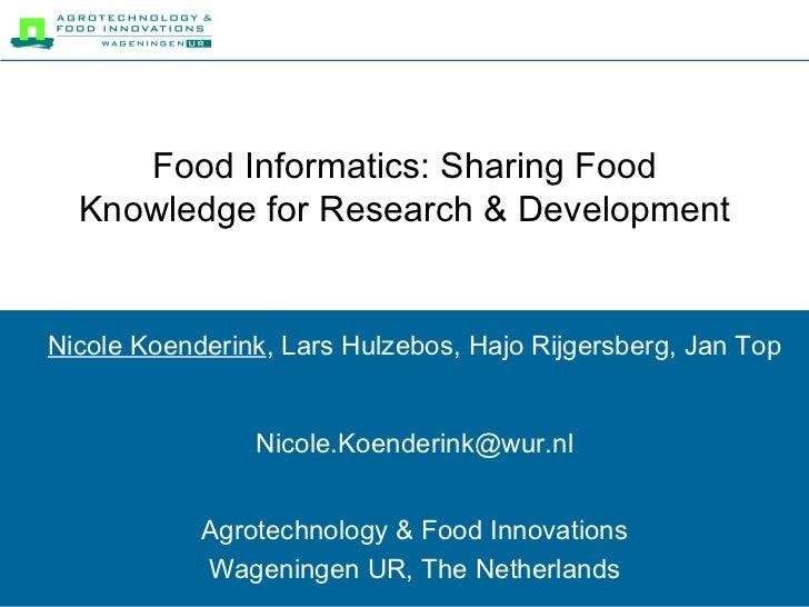 Food Informatics-Sharing Food