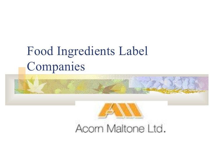 Food Ingredients Label Companies