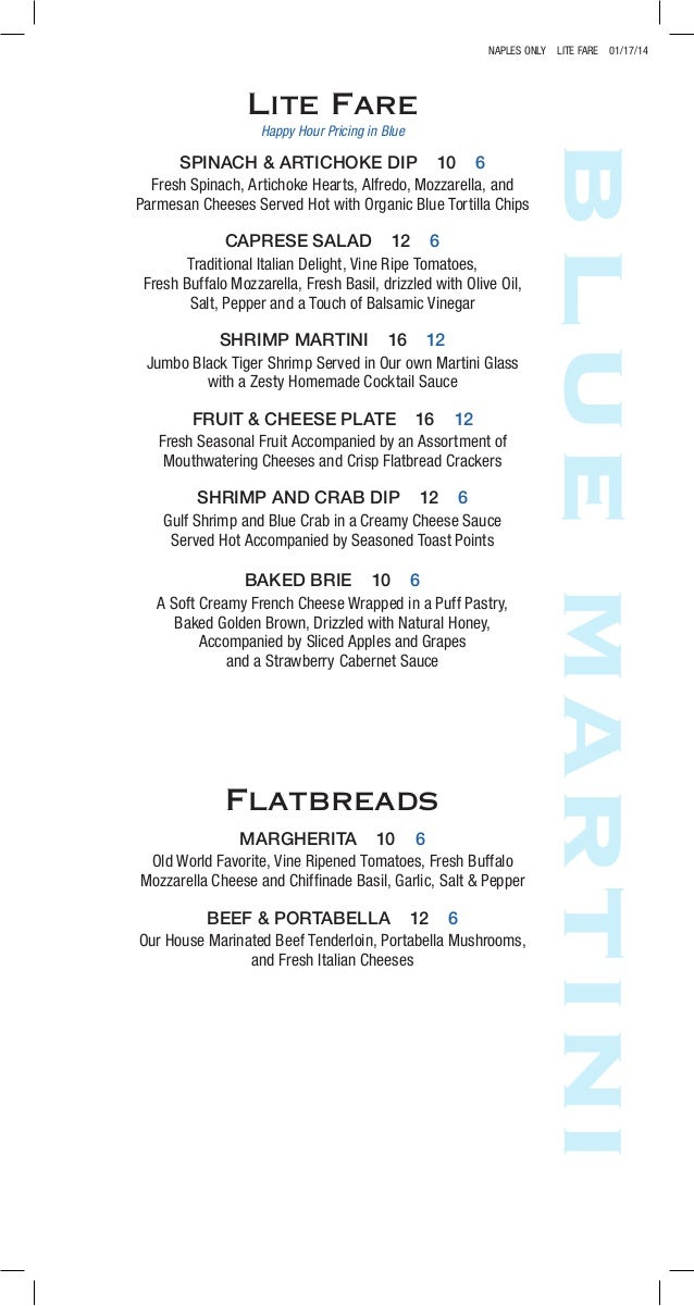 Happy Hour Food Menu At Blue Martini Lounge