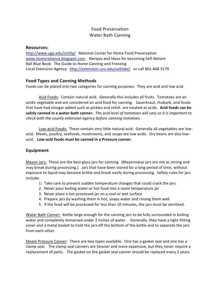 Food Preservation <br />Water Bath Canning<br />Resources:<br />http://www.uga.edu/nchfp/   National Center for Home Food ...