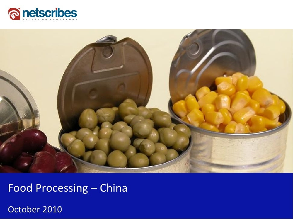 Market Research Report : Food Processing Industry in China 2010