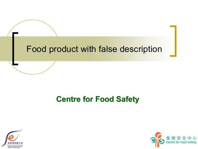 Food Product with False Description & Ordinances 2013
