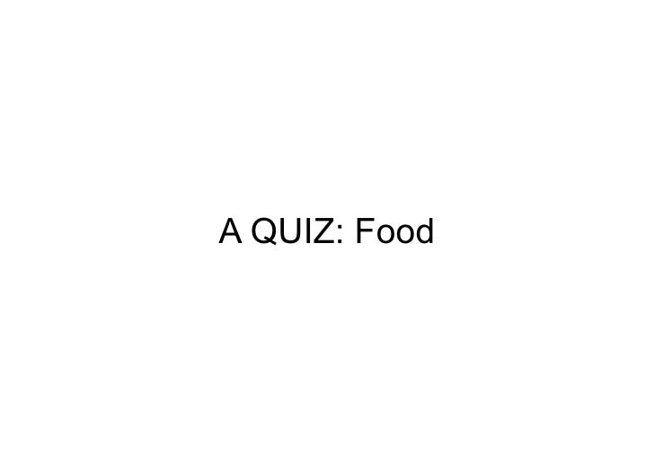 Food Quiz Key