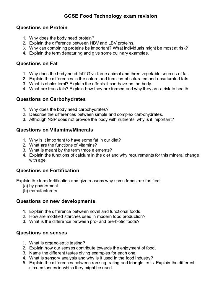 Food revision booklet questions