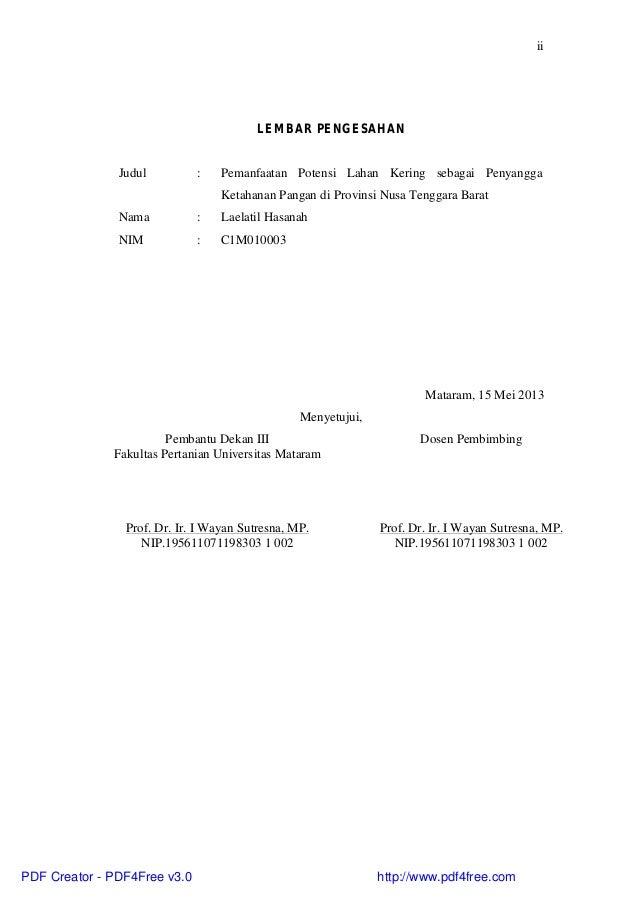 iiLEMBAR PENGESAHANJudul : Pemanfaatan Potensi Lahan Kering sebagai PenyanggaKetahanan Pangan di Provinsi Nusa Tenggara Ba...