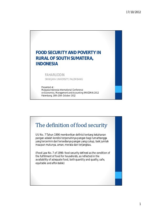 Food security and poverty in rural of south sumatera