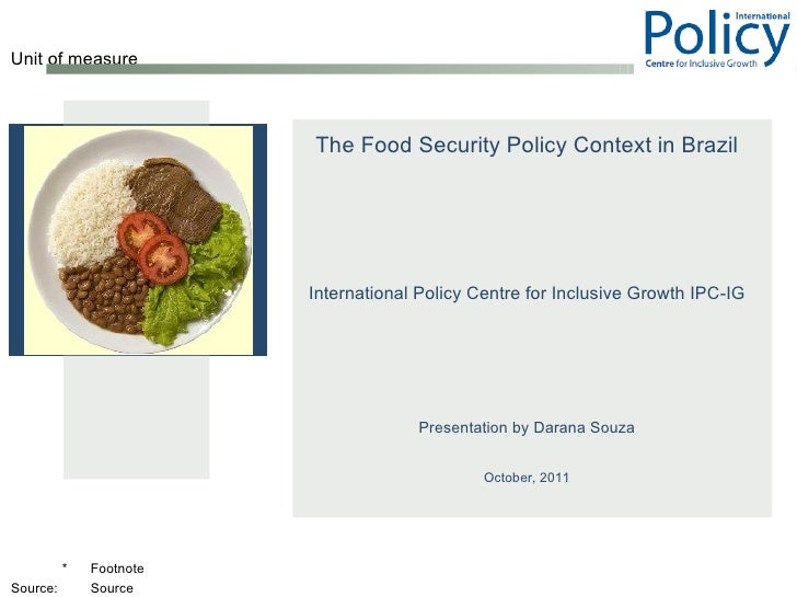 Food Security Policy Context and Hunger in Brazil