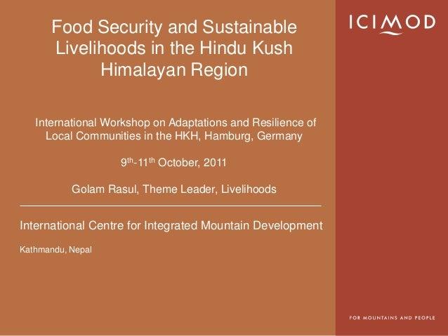 Food security & livelihoods   golam rasul, senior economist
