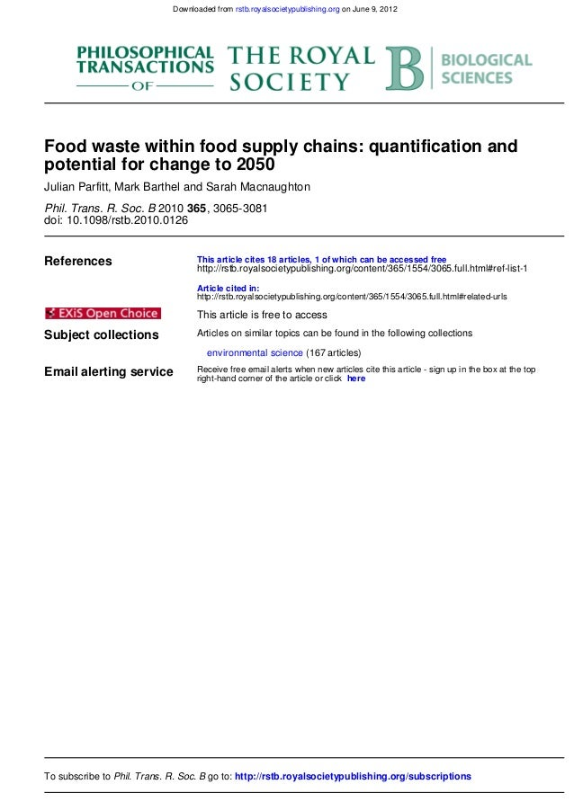 Food supply chain waste