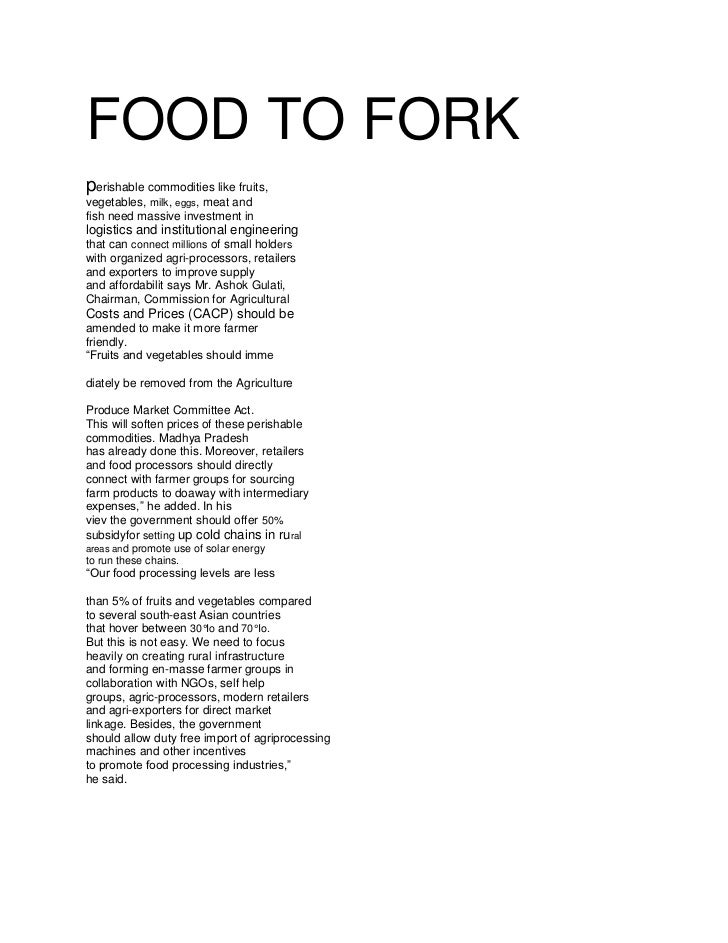 Food to fork