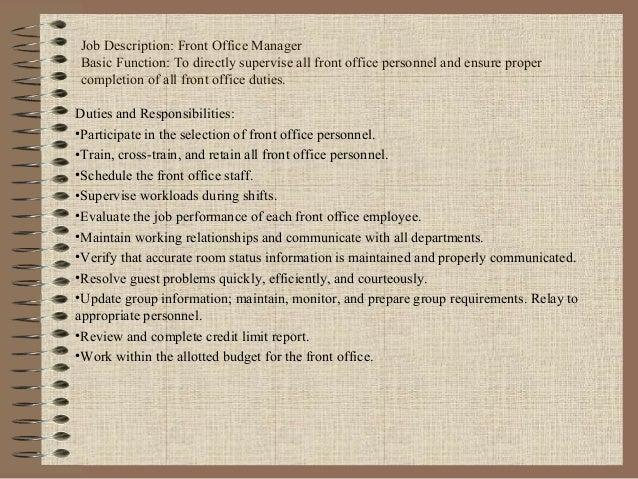 ORGANIGRAMA DE FUNCIONES EN FRONT DESK 3. Job Description: Front Office Manager ...