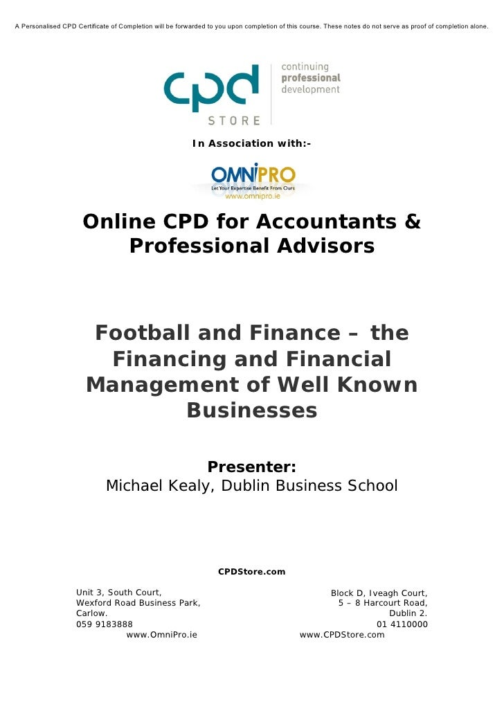Football and Finance – the Financial Management of Well Known Businesses
