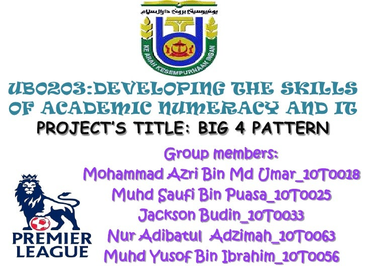 UB0203:DEVELOPING THE SKILLS OF ACADEMIC NUMERACY AND ITPROJECT'S TITLE: BIG 4 PATTERN<br />Group members: <br />Mohammad ...