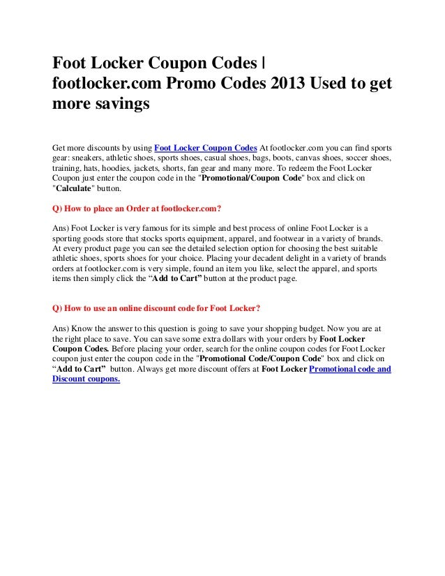 Foot locker printable coupons