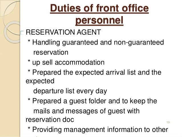 Introduction to front office for Agence reservation hotel