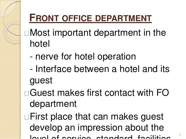 the role of the front office Sales and front desk: the sales role of front office staff the selling function has become an increasingly important part of the front office role - a fact that has.