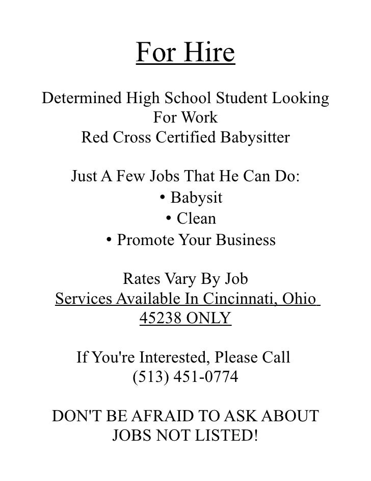 looking for a babysitter ad