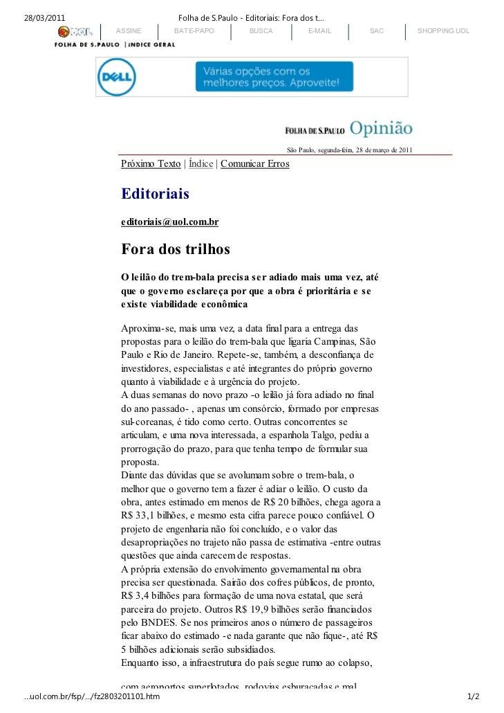 28/03/2011                            Folha de S.Paulo - Editoriais: Fora dos t…                       ASSINE        BATE-...
