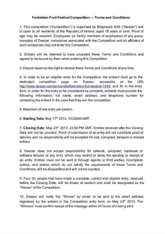Forbidden festival competition   terms & conditions - ie