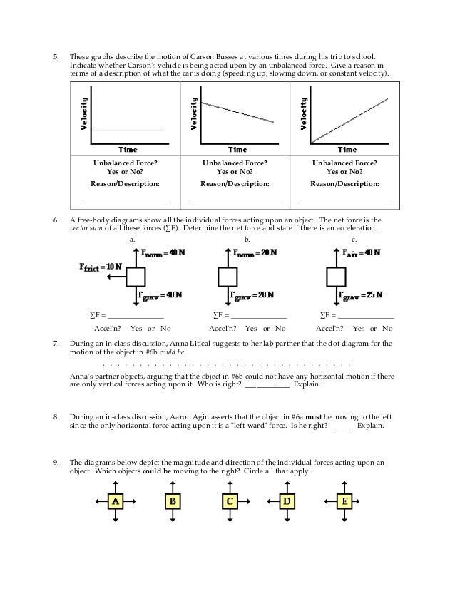 Balanced And Unbalanced Forces Worksheet Key - balanced and ...