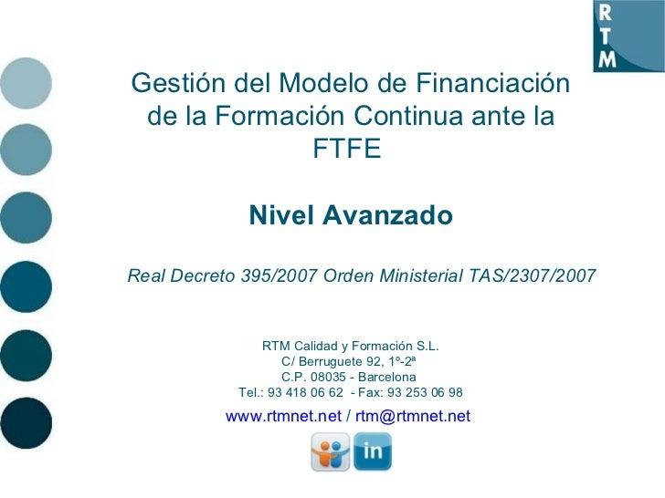 Gestión del Modelo de Financiación de la Formación Continua ante la FTFE - Nivel Avanzado
