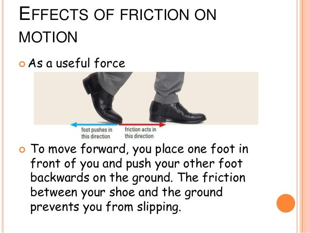 friction and shoe slide The force acts in the opposite direction to the way an object wants to slide if a car needs to stop at a stop sign, it slows because of the friction between the brakes and the wheels if you run down the sidewalk and stop quickly, you can stop because of the friction between your shoes and the cement what happens if you run.